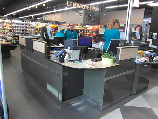 Agencement magasin supermarché | Meuble d'accueil
