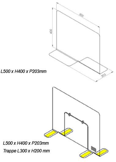 Protection plexiglas accueil en magasin